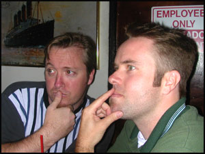 Jonah and CUJoe in a quiet moment, considering the LA.Blog.Meetup Gathering